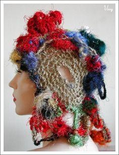 Freeform crochet art hat from musician Ana Voog