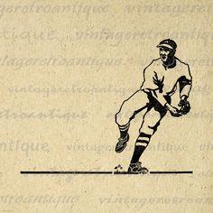 Antique Baseball Player Digital Graphic Download Printable Image Vintage Clip Art Jpg Png Eps 18x18 HQ 300dpi No.4098 @ vintageretroantique.etsy.com