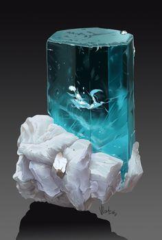 Aquamarine & Albite, Sandra Márquez on ArtStation at… Crystal Room, Crystal Magic, Minerals And Gemstones, Rocks And Minerals, Natural Crystals, Stones And Crystals, Mineral Stone, Rocks And Gems, Aquamarines