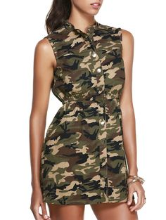 Casual Stand Collar Sleeveless Camo Dress For Women