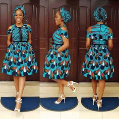 African Print Midi Dress plus FREE Headwrap - Ankara - African Dress - Handmade - Africa Clothing - African Fashion Ankara Short Gown Styles, Latest Ankara Styles, Short Gowns, Ankara Gowns, Ankara Dress, Ankara Fabric, Robes Ankara, African Fabric, Dress Styles