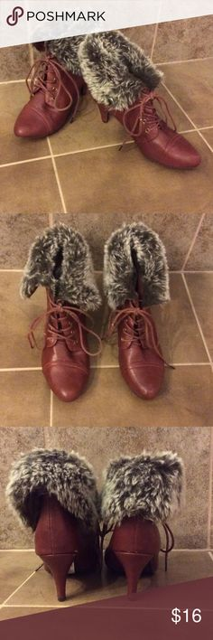 "Beautiful Fur Trimmed Burgundy Booties Great trendy burgundy booties that are faux leather & faux fur with a 3"" heel.   Barely worn.  These will be perfect with skinny jeans & a cute sweater for Fall/Winter! Breckelles Shoes Ankle Boots & Booties"