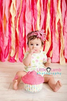 best ottawa child photographers photos giant cupcake pink Streamer background