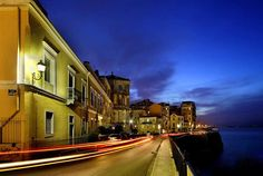 This photo from Kerkyra, Ionian Islands is titled 'From Spianada to the Old port'. Old Port, Greek Islands, Greece Travel, Planet Earth, Outdoor Living, Night Scenery, To Go, Old Things, Corfu Greece