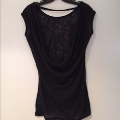 Open-Back Top Black, thin material, open back, can be worn as a beach cover up or just a regular short, very cute and comfortable, NEVER WORN Tops Tees - Short Sleeve