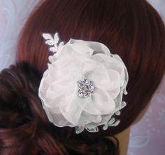 Ivory Silk Organza Hair Flower Bridal Fascinator by TheRedMagnolia