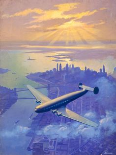 Sunset Over NEW YORK  Constellation or Connie Art Deco Airplane Travel over New York 1930s and 40s American, TWA, Pan Am United Airlines