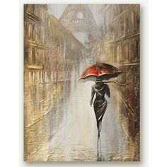 Painting Parisienne Original Art Painting Original Canvas Art Painting... ($250) ❤ liked on Polyvore featuring home, home decor, wall art, gold leaf wall art, gold leaf painting, canvas wall art, canvas paintings and canvas home decor