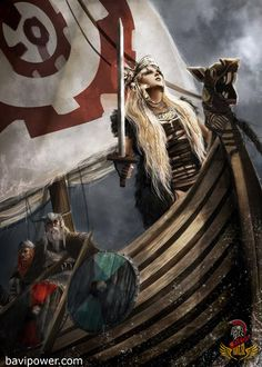 Vikings: Hervor was the daughter of the Angantyr. Because he died before her birth, Hervor grew up as a slave. She fought with a Viking clan, but when she learned who her father was, Hervor set out to inherit his magic sword, Tyrfing. Art Viking, Viking Life, Viking Ship, Viking Warrior, Viking Shield Maiden, Viking Helmet, Norse Pagan, Old Norse, Norse Mythology