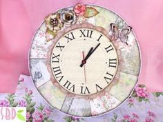 ▶ DIY Shabby chic Clock - ENG Series - YouTube делаем часы