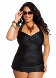 Ashley Stewart Women's Plus Size Solid Halter Ruffle Swim Dress Curvy Fashion, Plus Size Fashion, Dress With Cardigan, Plus Size Girls, Plus Size Swimsuits, Swim Dress, Cute Outfits, One Piece, My Style