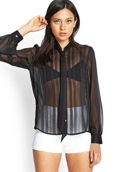 Pretty Black Sheer Blouse : Pretty Black Sheer Blouse