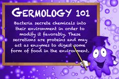 #Bacteria secrete #chemicals into their #environment in order to modify it favorably. These secretions are #proteins and may act as #enzymes to #digest some form of #food in the environment.