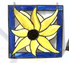 Stained Glass Sunflower Panel by StainedGlassbyNadine on Etsy, $60.00