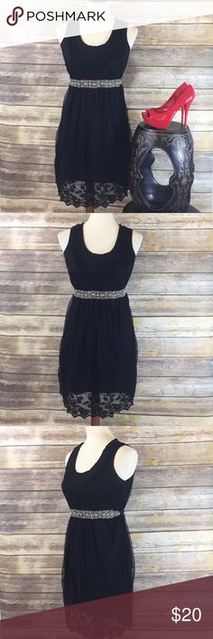 ❤️ANTILIA FEMME LACY LITTLE BLACK DRESS❤️ Beautiful Little Black Dress with Lace Overlay! Easy to dress up or dress down! Preowned Condition. Belt and Shoes not included. Antilia Femme Dresses Midi