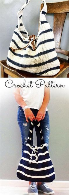 crochet pattern the cameron slouchy bag crochet pattern easy bag pattern crochet pattern summer bag pattern ad - PIPicStats Crochet Shell Stitch, Crochet Tote, Crochet Handbags, Crochet Purses, Crochet Crafts, Crochet Baby, Knit Crochet, Crochet Summer, Crochet Pillow