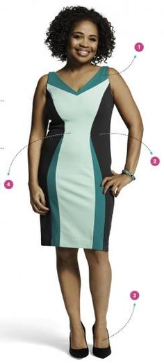 Belly Buster #2: Color Blocking  Contrasting swaths of light and dark create an optical illusion that masks your middle  1. The dress straps are wide enough to cover a good, supportive bra (seamless). V-neckline has a slimming effect on shoulders and bustline.   2. The black side panels:  they hide love handles, but they also mimic an hourglass shape.   3. To make legs look longer, opt for a sleek, pointy pump.   4.  fabric that has a bit of structural integrity, so choose sturdy over…