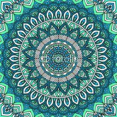 "Turquoise Mandala Seamless Pattern"" Stock image and royalty-free ..."