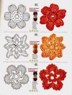 Módulos y flores en crochet
