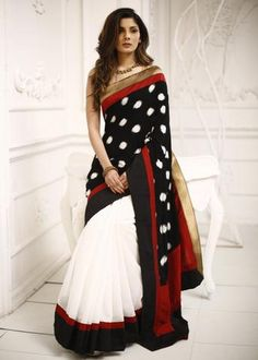 Combination of Ikat & white chanderi saree with zari border lovely Simple Sarees, Trendy Sarees, Stylish Sarees, Indian Attire, Indian Wear, Indian Dresses, Indian Outfits, Pakistani Outfits, Indian Clothes
