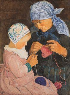 La lecon de tricot - Ernest Bieler