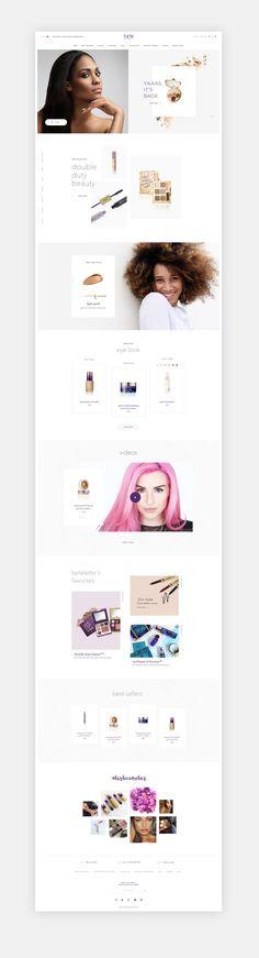 Tarte Cosmetics E-commerce website design by Daniel Moulin Website Design Inspiration, Fashion Website Design, Website Layout, Web Layout, Layout Design, Web Design Tutorial, Marketing Website, Webdesign Inspiration, Fashion Business