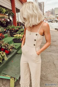 Women Summer Backless Button Strappy Jumpsuit Casual Long Trousers Playsuit Women Summer Backless Button Strappy Jumpsuit Casual Long Trousers Playsuit - Jumpsuits and Romper Look Fashion, Fashion Outfits, Womens Fashion, Fashion Tips, Fashion Trends, Fashion Ideas, Ladies Fashion, Fashion 2018, White Fashion