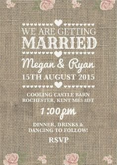 50 Personalised Hessian Country Rose Wedding Invitations!The Invite Shack