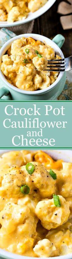 Crock Pot Cauliflower and Cheese - so cheesy and easy! Crock Pot Cauliflower and Cheese - so cheesy and easy! Crockpot Dishes, Crock Pot Slow Cooker, Crock Pot Cooking, Slow Cooker Recipes, Cooking Recipes, Crock Pots, Crockpot Meals, Crockpot Veggies, Cooking Lamb