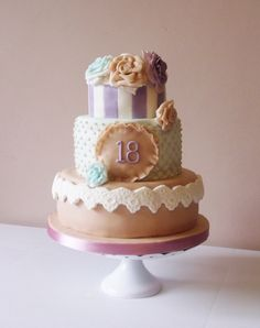 I made this three tiered vintage themed birthday cake for my sister's birthday Vintage Birthday Cakes, 18th Birthday Cake, Themed Birthday Cakes, Vintage Cakes, Baby Birthday, Birthday Ideas, Pretty Cakes, Cute Cakes, Beautiful Cakes