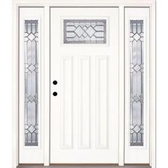 Feather River Doors Mission Pointe Zinc Craftsman Primed Smooth Fiberglass Entry Door with Sidelites-A82191-3A4 at The Home Depot