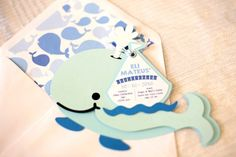 This Whale Themed Baptism + Birthday Party featured here at Kara's Party Ideas is filled with darling inspriation fit for any celebration. 1st Birthday Shirts, Baby Boy First Birthday, First Birthday Invitations, 1st Birthday Parties, Birthday Ideas, Whale Decor, First Birthday Pictures, Under The Sea Party, First Birthdays