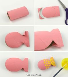 easy step by step tutirial on how to create a paper roll fish Create a cute paper roll fish using this simple step by step tutorial. This is a fun way to upcycle your cardboard tubes and makes a great DIY toy for kids. Toilet Roll Craft, Toilet Paper Roll Crafts, Paper Crafts, Art Crafts, Projects For Kids, Diy For Kids, Crafts For Kids, Art Projects, Recycled Crafts Kids