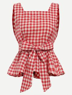Shop Red Checkerboard Self Tie Peplum Top online. SheIn offers Red Checkerboard Self Tie Peplum Top & more to fit your fashionable needs. Red Peplum Tops, Peplum Shirts, Plaid Shirts, Red Checkered Shirt, Red Plaid, Gingham, Casual Outfits, Fashion Outfits, Women's Fashion