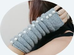 CHRISTMAS GIFT Gray Knit Fingerless Mittens, Gift for Her, Holiday gift, Unique Gift, Special Gift, Pearl Embellish Mittens, XMAS Gift Idea by Hisliden on Etsy