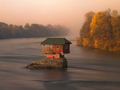 Today's Extreme Architecture: A Little House In The Middle Of A Big River. One-bedroom shelter in Serbia, on an island in the Drina River,  Photo courtesy of Design Taxi