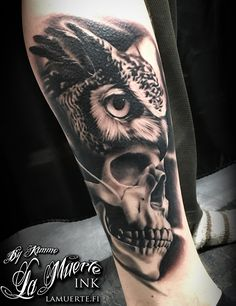 Owl and skull tattoo by Kimmo Angervaniva @ La Muerte Ink