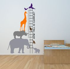 Personalised Fun Safari Height Chart Wall Art Decal Mural Sticker