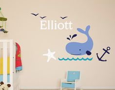 Personalized baby name wall decal nursery-nautical whale by Sxixm