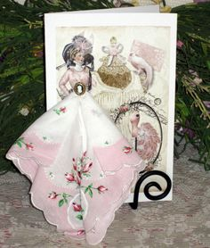 Cameo Rose Keepsake Hanky Card by onceuponahanky on Etsy, $10.00