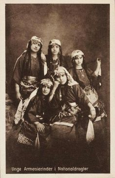 Young Armenian women in national costumes A vintage Danish postcard