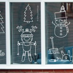 Christmas Is Coming, All Things Christmas, Christmas Time, Christmas Crafts, Deco Table Noel, Illustration Noel, Christmas Window Decorations, Christmas Chalkboard, Chalk Markers