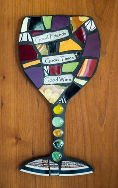 Custom Mosaic Wine Glass Wall Art with Whimsical by PeaceByPieceCo