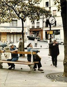 La place Jussieu en 1957. Une photo de © Peter Cornelius  (Paris 5ème)