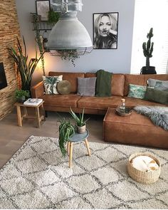 Home Decoration; Leather sofa;Three Seat Sofa;Two-seat Sofa Board: Home Furniture Boho Living Room, Living Room Colors, Living Room Interior, Living Room Designs, Bohemian Living, Brown And Green Living Room, Living Area, Living Room Decor Brown Couch, Brown Leather Couch Living Room