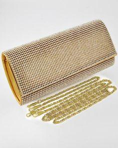$45.11 Gold clutch w/rhinestone accents