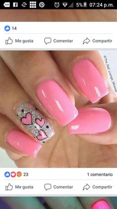 Uñas de acrílico Fancy Nails, Love Nails, Pretty Nails, Pink Nail Art, Pink Nails, Acryl Nails, Valentine Nail Art, Heart Nails, Creative Nails