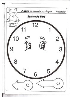 :) Kids Learning Activities, Classroom Activities, Fun Learning, Preschool Activities, Clock Face Printable, Clock Template, Pre K Worksheets, Clock Craft, Fall Coloring Pages