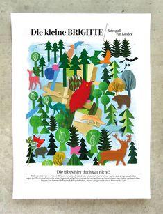 Julia Pfaller » Brigitte Rätsel Editorial Design, Illustration, Advent Calendar, Holiday Decor, Home Decor, Wild Animals, Drawing S, Kids, Decoration Home