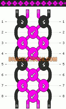 simple easy diamond geometric friendship bracelet pattern 4 strand 2 color